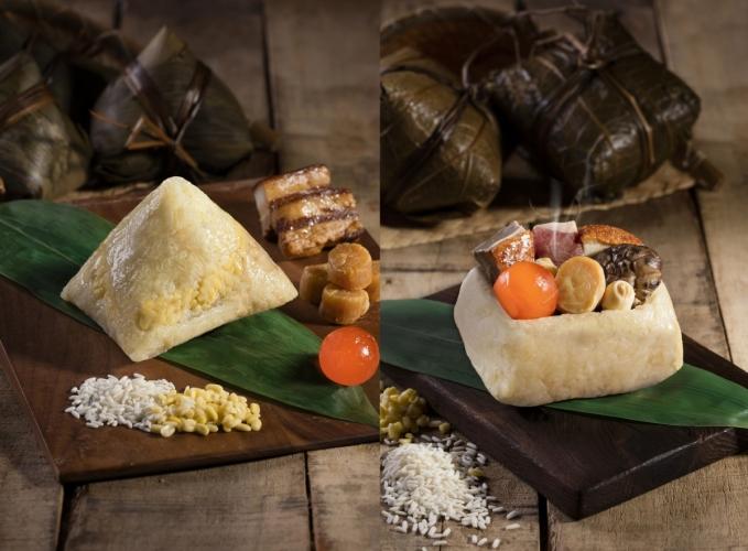 (左起)五香瑤柱鹹肉、至尊足斤裹蒸