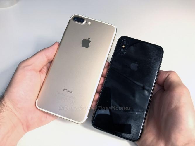 爆料大神 Onleaks 與 tigermobiles以疑似iPhone 8的dummy機拍攝影片,並與iPhone 7 Plu比較大小。