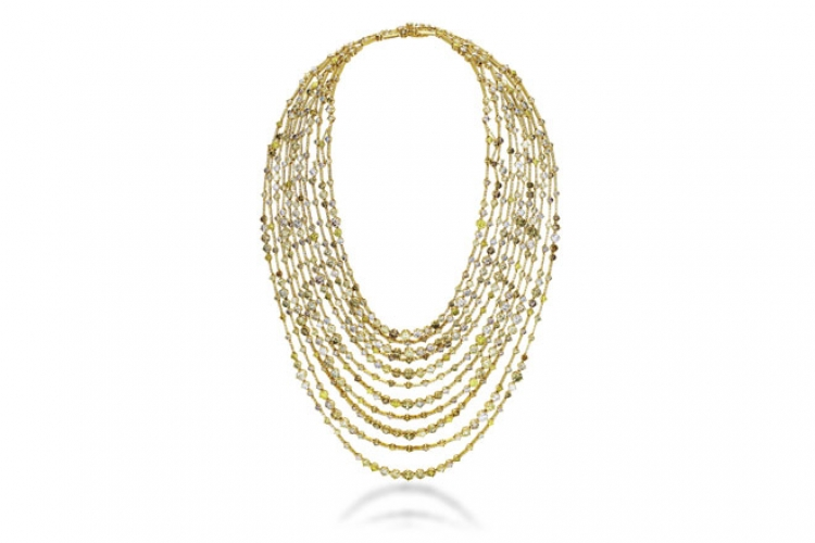 DE BEERS Arpeggia 11-Line necklace in 18K yellow gold with diamonds, fancy yellow & cognac colored diamonds (price to be confirmed)