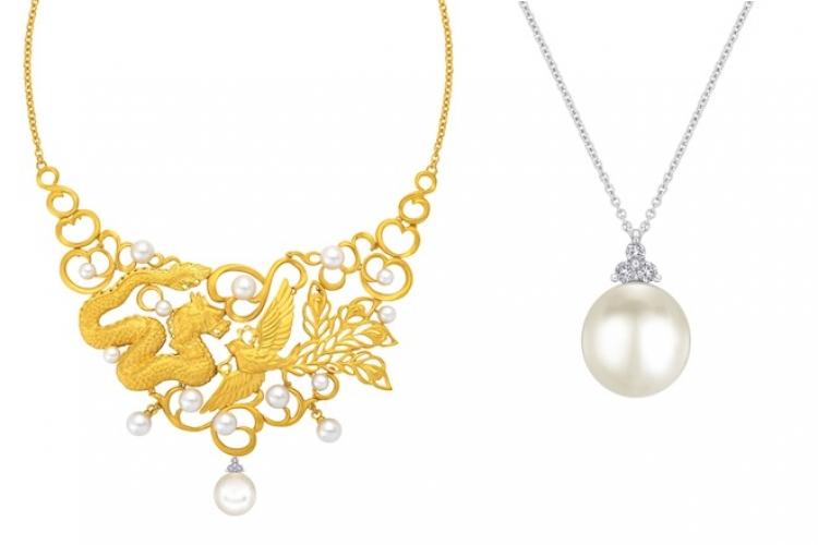 龍鳯珍禧系列項鏈,中間最大顆的珍珠可拆出來當吊墜。