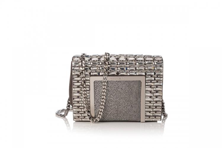 Ava 銀色鑲水晶 chain bag $38,400