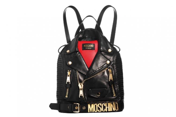 Moschino 黑皮 biker 形今鏈背包 $21,600 from On Pedder