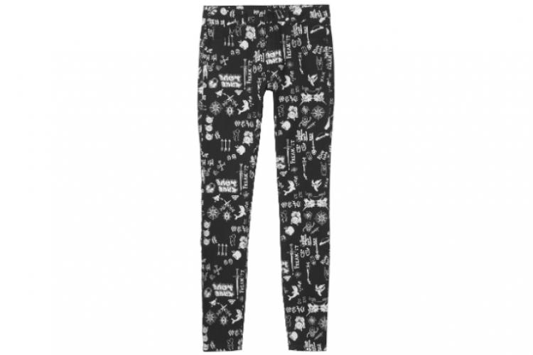 Monki 黑色印白色圖案長褲 $200