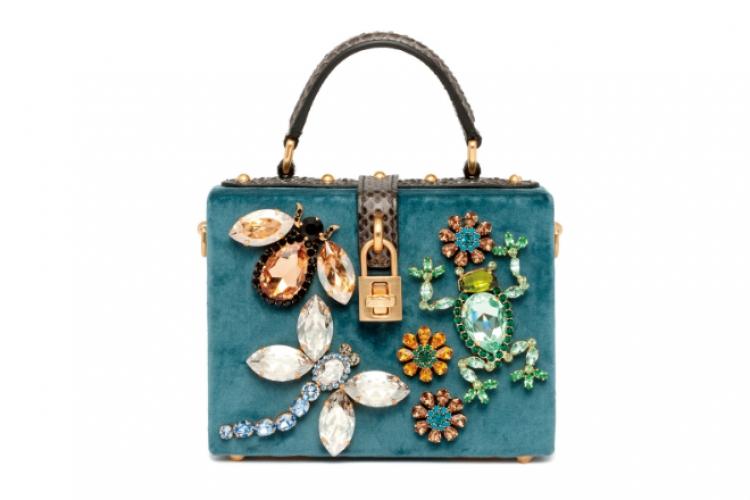 Dolce & Gabbana 蜻蜓與青蛙彩石綴綠色手袋 售價待定