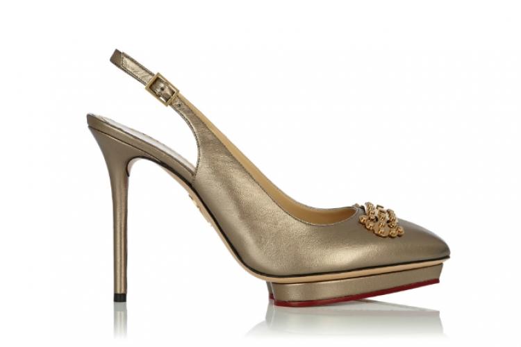 Charlotte Olympia 啞金色綴金扣飾 sling back 高跟鞋 $9,100 from On Pedder