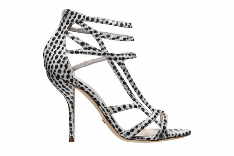 DIOR Double 黑白點蛇皮高跟涼鞋 $11,500