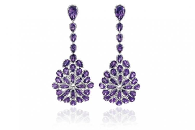 Chopard Red Carpet 紫水晶吊墜 18K 白金耳環 個別查詢售價
