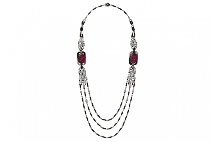 Cartier Collection L'Odyssee de Cartier Parcours d'un style necklace in platinum with rubellites & onyx (price upon request)
