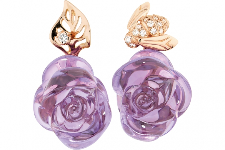 Dior Joaillerie Rose Dior Pre Catelan earrings in 18K pink gold with amethysts and diamonds $88,000