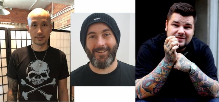 10位國際級紋身師包括(左起)本地紋身師 Akai Wong 、英國BEZ及波蘭的Davee Blows