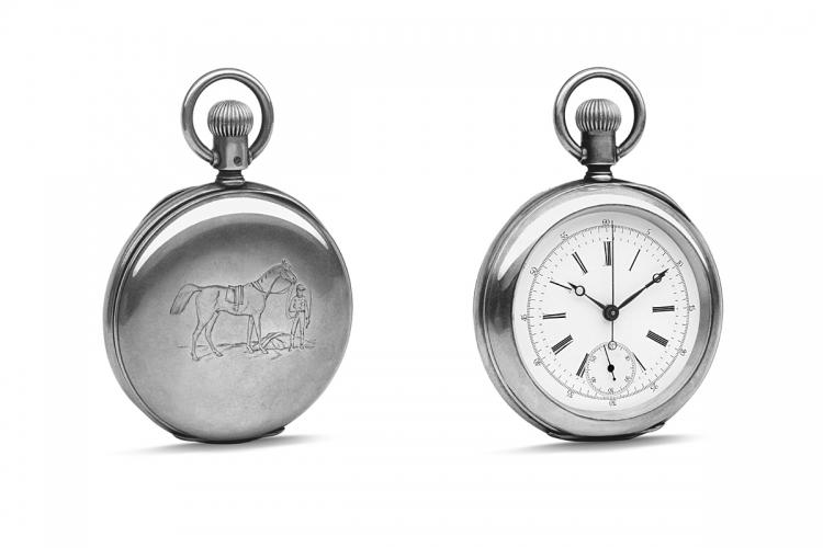 1878年,一枚刻有騎師及其坐騎的計時碼表。