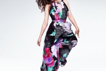 Leonard black silk satin dress in Recital floral print $41,800