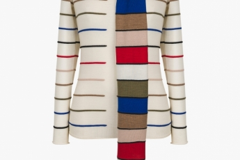Sonia Rykiel white stripped top with coloured scarf $4,500