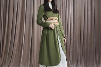 Sweater $1390/ Military Coat $2790/ Belt $590/ Printed Skirt $1590/ Sneakers $1790 (Initial)