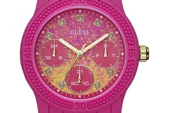 GUESS 西瓜粉紅色襯橙黃色潑墨錶 HK$1,590