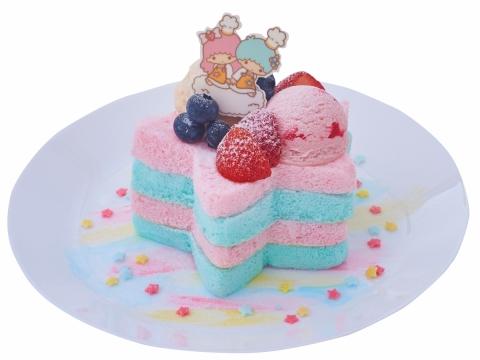 夢幻粉星層層蛋糕 (HK$88) Kiki & Lala獨一無二的粉藍色和粉紅色蛋白蛋糕,配上酸甜的雜莓、雪糕。