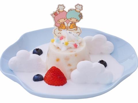 雲上的馬豆糕 (HK$48) 以椰汁作雲海,把蛋白脆餅堆疊成雲海上的層層起伏,Kiki和Lala坐在馬豆糕上。