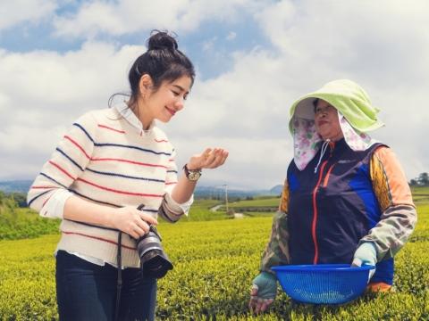 鍾楚紅走入茶田與當地採茶婆婆談天說地,縱使語言不通,但大家相視面笑,瞬間拉近了雙方的距離。