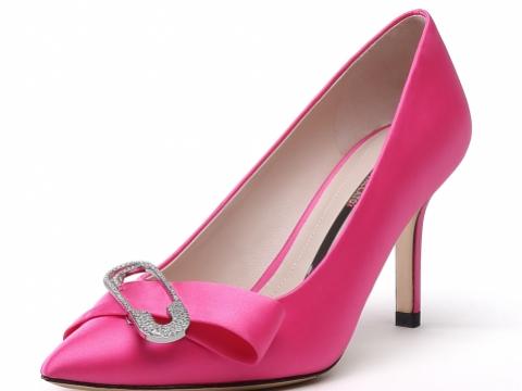 尖頭粉紅色銀扣高跟鞋 HK$1,690