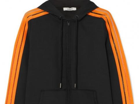 Presbourg mesh-trimmed satin-jersey hooded top  HK$664 (GANNI)