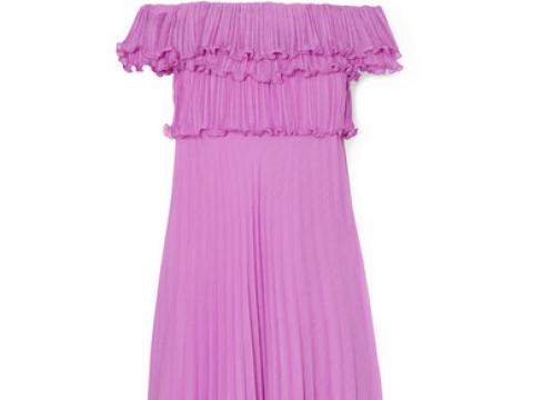 Ruffled plissé-georgette gown  HK$2,544 (HALSTON HERITAGE)