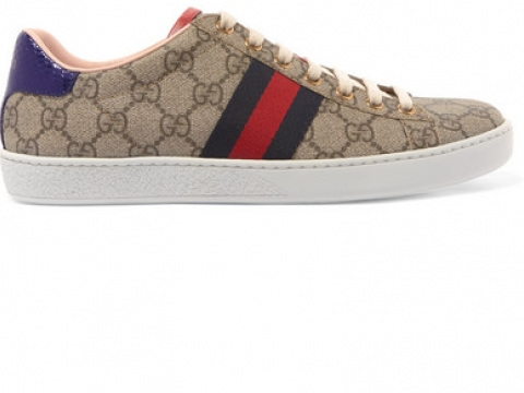 Ace GG Supreme metallic watersnake-trimmed logo-print coated-canvas sneakers HK$4,900 (GUCCI)