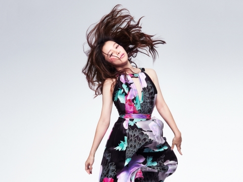 Leonard black silk satin dress in Recital floral print $41,800