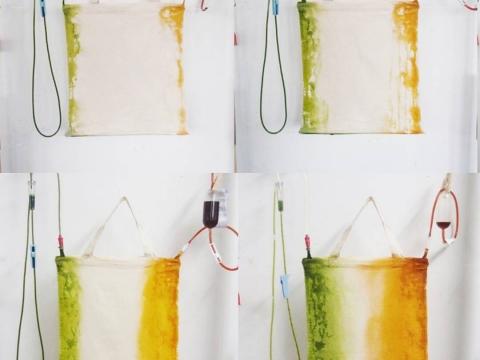 Kacama Lab以往作品《食物遺跡》:以廚餘製作染料,注滿輸液袋,再滴染布料。