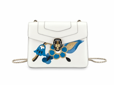 Bulgari SERPENTI FOREVER flap cover bag in white agate calf leather featuring Inlayed Fiore motif in cloud topaz, white agate and black calf leather with gold galuchat skin $21,500