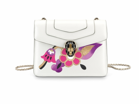 Bulgari SERPENTI FOREVER flap cover bag in white agate calf leather featuring Inlayed Fiore motif in pink spinel, white agate and black calf leather with gold galuchat skin $21,500