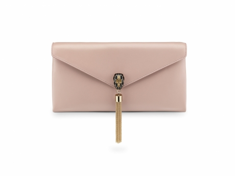 Bulgari SERPENTI POCHETTE in desert quartz smooth calf leather $11,900