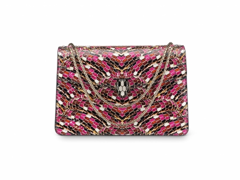 Bulgari SERPENTI FOREVER flap cover bag featuring Serpentage motif in pink spinel python skin $37,000