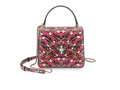 Bulgari SERPENTI FOREVER top handle bag featuring Serpentage motif in pink spinel python skin $31,300