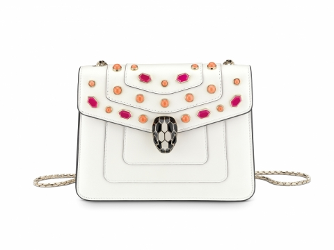 Bulgari SERPENTI FOREVER flap cover bag in white agate calf leather featuring Scaglie Beads motif in fire opal $21,300