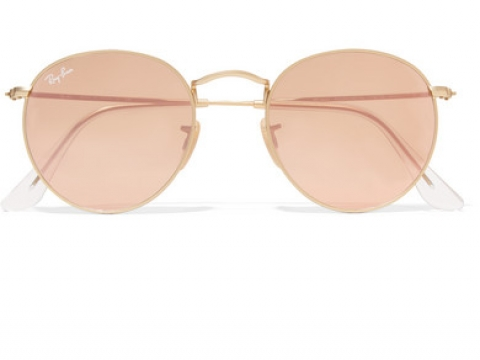Round-frame gold-tone mirrored sunglasses HK$1,305 (RAY-BAN)
