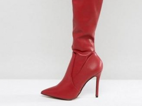 Leather Look Over The Knee Heeled Boots HK$1,037 (River Island)