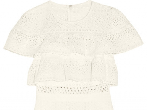 Ruffled broderie anglaise mini dress HK$1,624 (SELF-PORTRAIT)