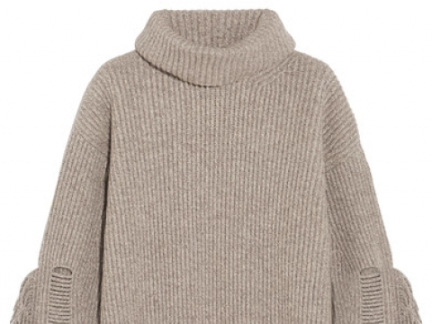 Fringed ribbed cashmere and wool-blend turtleneck sweater HK$8,540 (STELLA MCCARTNEY)
