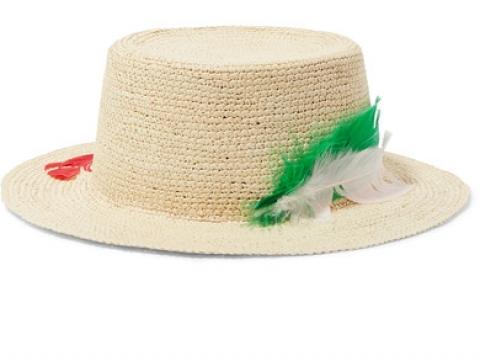 Hippie feather-embellished toquilla straw sunhat HK$750 (SENSI STUDIO)