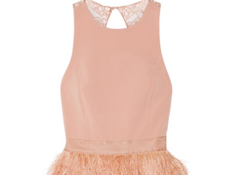 Philomena feather-embellished cady and lace mini dress HK$7,710 (ALICE + OLIVIA)