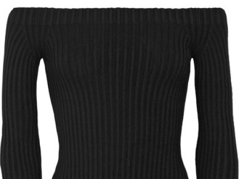 Off-the-shoulder ribbed stretch-silk top HK$2,590 (HELMUT LANG)