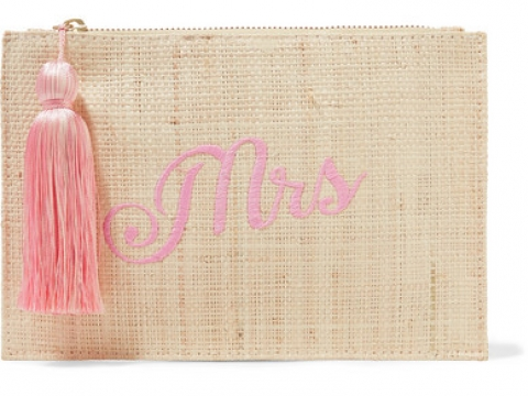 Mrs embroidered woven straw pouch HK$595 (KAYU)
