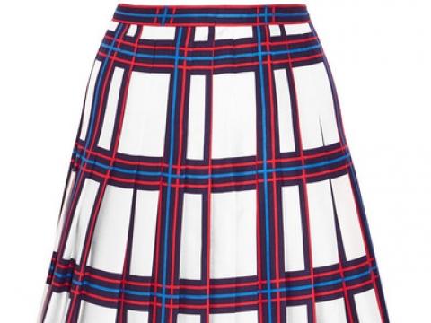 Harper pleated plaid silk-twill skirt  HK$1,330 (TORY BURCH)