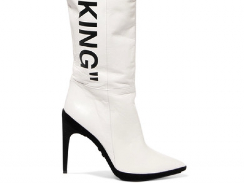 For Walking printed leather over-the-knee boots HK$10,697 (OFF-WHITE)