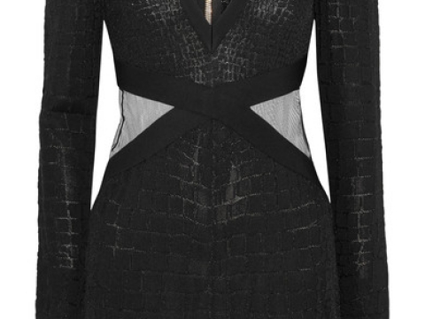 Mesh-trimmed croc-effect stretch-knit dress HK$15,715(BALMAIN)