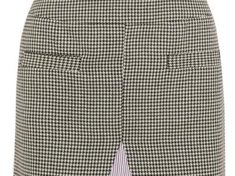 Houndstooth wool-blend tweed and striped cotton-poplin midi skirt HK$1,706 (WANDA NYLON)