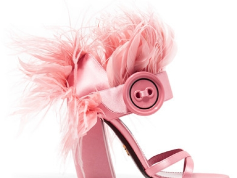 Feather-trimmed satin sandals HK$9,200 (PRADA)