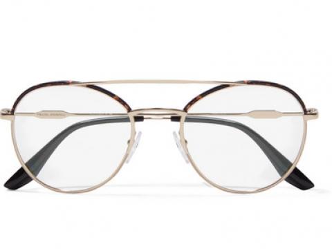 Aviator-style gold-tone and tortoiseshell acetate optical glasses HK$1,140 (PRADA)
