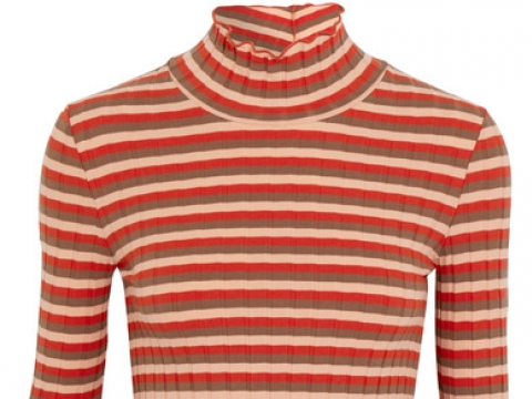 Ribbed striped stretch-cotton jersey turtleneck top HK$400 (MADEWELL)