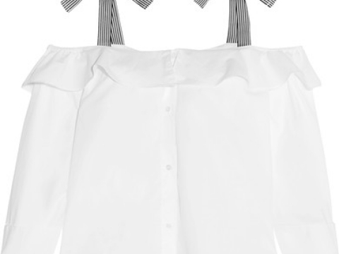 Hoot cold-shoulder ruffled cotton-poplin top HK$705 (J.CREW)